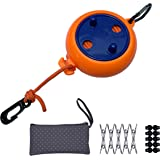 EAZZ 26 Feet Retractable Clothesline Outdoor Laundry Line - Portable Clothesline Set with Storage Bag,10 Windproof Clips,20 C