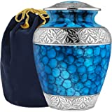 Forever Remembered Classic and Beautiful Blue Adult Cremation Urn for Human Ashes - an Elegant High Quality Large Urn with a