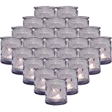 24-Packs Lavender Glass Vintage Tea Light Candle Holders, Tealight Votive Holder for Table Centerpieces, Wedding Prom ,Party,