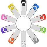 Enfain Bulk 8GB USB Flash Drives Thumb Drives 10 Pack in a Compact Organizer Box(USB 2.0, 8 GB, 10 Assorted Colors)