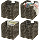 mDesign Natural Woven Seagrass Closet Storage Organizer Basket Bin - Collapsible - for Cube Furniture Shelving in Closet, Bed