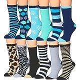 Tipi Toe Women's 12-Pairs Soft Fuzzy Anti-Skid Crew Socks
