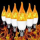 E12 Flame Bulb LED Candelabra Flame Bulbs, 1.2 Watt Warm White LED Chandelier Bulbs-Flame Light Bulbs for Festival/Hotel/Bar