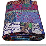 Assorted Patchwork Blue Khambadia Bohemian Blanket Floral Cotton Queen Kantha Quilt Indian Handmade Patchwork Floral Cotton K