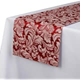 EHouseHome Jacquard Damask Reversible Burgundy Table Runners 13 x 108 inch Wrinkle and Water Resistant Spill-Proof Decorative