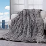 Cottonblue Faux Fur Reversible Sherpa Weighted Blanket 15lbs,Luxury Snugly Long Fur Warm Heavy Blanket 48x72 inches,Super Sof