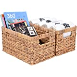 "StorageWorks Water Hyacinth Wicker Storage Baskets, Rectangular Hand-Woven Basket with Handle, 12.9"" x 8.4"" x 7"", 2-Pack"