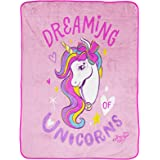 Jay Franco Nickelodeon JoJo Siwa Dreaming Unicorn Throw Blanket - Measures 46 x 60 inches, Kids Bedding - Fade Resistant Supe
