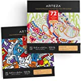 Arteza Coloring Books for Adults, Animal & Doodle Designs, 2-Pack, 144 Sheets Total, 100 lb, 6.4x6.4 Inches, for Anxiety, Str