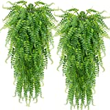 2 pcs Artificial Hanging Ferns Plants Vine Fake Ivy Boston Fern Hanging Plant Outdoor UV Resistant Plastic Plants for Wall In