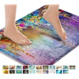 Britimes Bath Mats for Bathroom, Bathroom Mats Rugs No Silp, Colorful Purple Flower Washable Cover Floor Rug Carpets Floor Ma