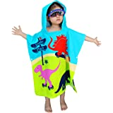 Athaelay Lightweight Microfiber Hooded Beach Towel for Kids, Toddlers Bath/Pool/Swim Poncho Cover-ups Swimwear (3D Dinosaurs