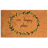 Pure Coco Coir Doormat with Heavy-Duty PVC Backing - Our Happy Place - Perfect color/sizing for outdoor/indoor uses. Pile Hei