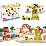 Crane Train Set- 60 Pcs Wooden Track & Exclusive Crane & Trains- Fits Thomas, Chuggington, Melissa- Gift Packed Toy Railway K
