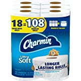 Charmin Ultra Soft Toilet Paper, 18 Super Mega Rolls = 108 Regular Rolls