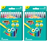 BIC Kids Coloring Markers, Medium Tips, 2 Packs of 10 Markers, Assorted