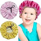 3 Pieces Kids Satin Bonnet Adjustable Sleeping Cap Reversible Satin Cap for Teens Toddler Child (Classic Color)