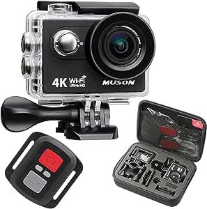 【新型】MUSON(ムソン) アクションカメラ 4K高画質 2000万画素 手振れ補正 WiFi搭載 外部マイク対応 30M防水 自撮り棒付き 1200mAhバッテリー2個 [メーカー1年保証] 170度広角レンズ リモコン付き 2インチ液晶画面 HDMI出力 ドライブレコーダーとして使用可能 水中カメラ 防犯カメラ スポーツカメラ ウェアラブルカメラ Pro3 (手ブレ補正あり) (GERY)