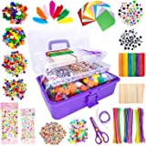 1405 Pcs Art and Craft Supplies for Kids, Toddler DIY Craft Art Supply Set Included Pipe Cleaners, Pom Poms, Feather, Folding