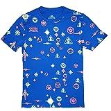 Marvel Comics Captain Marvel All Over Print Blue Graphic T-Shirt