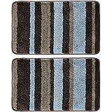 "mDesign Soft Striped Microfiber Non-Slip Spa Mat, 34"" x 21"", 2 Pack, Polyester, Mocha/Gray, Pack of 2"