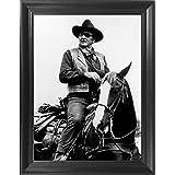 "John Wayne Poster Framed 3D Wall Art - The Cowboys 3D Lenticular Movie Posters - 14.5x18.5"" - The Duke on a Horse - Unbelieva"