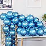 Metallic Chrome Blue Balloons 100 Pcs 12 Inch Helium Shiny Thicken Latex Balloons Party Decoration