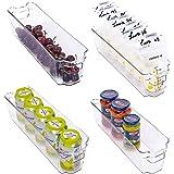 StorageWorks Narrow Stackable Refrigerator Storage Bins, Small Plastic Storage Bins for Freezer and Pantry, Fridge Door Organ