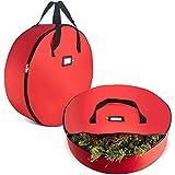 "2-Pack Christmas Wreath Storage Bag 30"" - Artificial Wreaths, Durable Handles, Dual Zipper & Card Slot, Holiday Xmas Tear Res"
