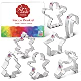 Ann Clark Cookie Cutters 7-Piece Christmas Cookie Cutter Set with Recipe Booklet, Snowflake, Star, Christmas Tree, Gingerbrea