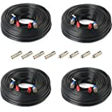 SHD 4Pack 165Feet BNC Vedio Power Cable Pre-Made Al-in-One Camera Video BNC Cable Wire Cord for Surveillance CCTV Security Sy