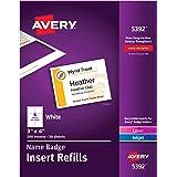 "Avery Name Badge Insert Refills, 3"" x 4"", Box of 300 (5392)"