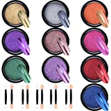 Duufin 10 Jars Nail Powder Mirror Nail Art Powder Metallic Chrome Powder 10 Colors Manicure Pigment(1g/Jar) with 10 Pcs Eyesh