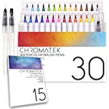 30 Watercolor Brush Pens, 15 Page Tutorial Pad and Online Video Series by Chromatek. Real Brush Tip. Vivid. Blendable. Profes