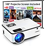 Mini Projector, SHIMOR C9 Portable Movie Projector with 100Inch Projector Screen, 1080P Supported Compatible with TV Stick, V