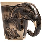 Holder Mug Coffee Tea Cup Elephant Cute Chubby Shaped Mother and Son from White Ceramic for Women Gifts Cups Travel Funny Ani