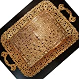 Gold Decorative Turkish Coffee Tea Serving Tray - Vintage Ottoman with Handles for Outdoor Dresser Housewarming Gift for Home