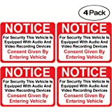 (4 Pack) Notice Vehicle is Equipped with Audio and Video Recording Devices Consent by Entering Sticker - Self Adhesive 2½ X 3