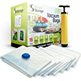 Vacuum Storage Bags, 16 Pack by Smart Storage | Space Saver Bags for Clothes, Pillows & Bedding, Travel Luggage | Vacuum Seal