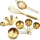 Homestia Measuring Jigger Oneside with Measurements 2.5oz, Silver Tableware Set Gold 10PCS