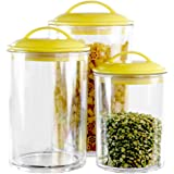 Calypso Basics 3-Piece Acrylic Canister Set, Plum Lids 3.5cups, 5.5cups, 9 Cups Lemon
