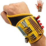 BinyaTools Magnetic Wristband With Super Strong Magnets Holds Screws, Nails, Drill Bit. Unique Wrist Support Design Cool Hand