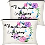 2 Pieces Teacher Appreciation Gifts Makeup Bag Cosmetic Pouch Thanksgiving Gift Thank You for Helping Me Grow Travel Toiletry