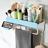 Adhesive Bathroom Shelf with Towel Bar, Volpone Stick on Bathroom Kitchen Storage Organizer with Hooks, Suction Shower Shelf