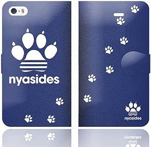 iPhone5C 手帳型 ケース カバー NYASIDES ニャシデス C アニマル ネコ ハート ワンポイント 猫 面白イ