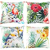 Johouse 4PCS Flamingo Throw Pillow Covers Decorative Tropical Leaves Toucan Parrot Pattern Cushion Covers for Patio Sofa Couc