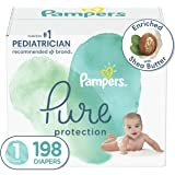 Diapers Size 1, 198Count - Pampers Pure Disposable Baby Diapers, Hypoallergenic & Unscented Protection, One Month Supply