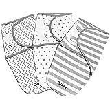 CuddleBug Adjustable Baby Swaddle Blanket & Wrap (Spots & Stripes), Pack of 3 (Small/Medium 0-3 Months Old)