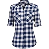 Zeagoo Women's Roll Up Sleeve Flannel Plaid Shirt Boyfriend Button Down Checkered Cotton Shirt(S-XXXL)
