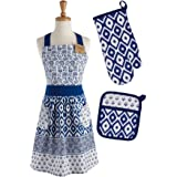 DII COSD35141 Cotton Gift Set, Machine Washable, Perfect for Everyday Kitchen Cooking and Baking, Blue Market